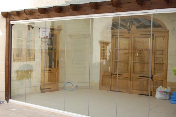 Single glazed frameless doors folding sliding patio door for Single sliding patio door